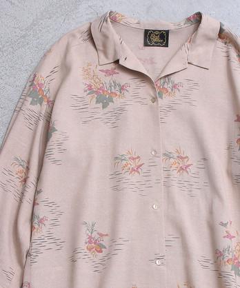 〇ジャポニズムプリント チビ衿シャツ