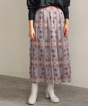 ペルシャモザイクプリントプリーツスカート
