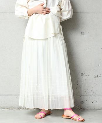 ○シャーリングパネルジャガードマキシスカート