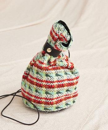 ○オーロララメカットリリージャガード 巾着バッグ