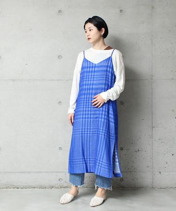 ○風通ギンガムキャミワンピース