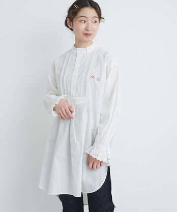 〇malle Cotton poplin モノグラムグランパシャツ