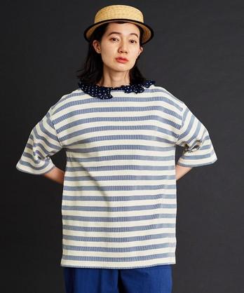 〇malle フレンチアンティークボーダー 6分袖バスクシャツ