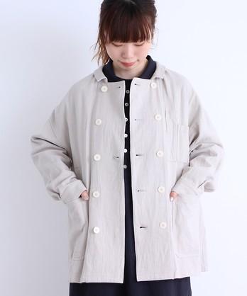 〇malle リネン/コットンカツラギ ダブルブレストファーマーズ ワークジャケット