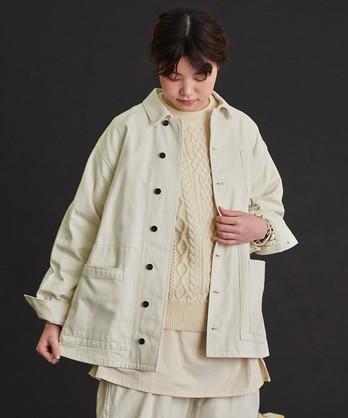 〇malle クラシックワーカーサテン サンカク衿ワークジャケット