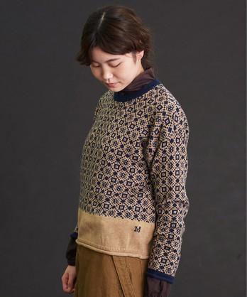 〇malle コットン/ナイロン/ウール シカクジャカードセーター