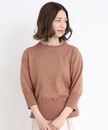 〇malle コットン/リネン 7分袖サマーセーター