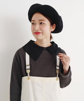 〇malle コットン/ポリエステル 大きな衿のセーター