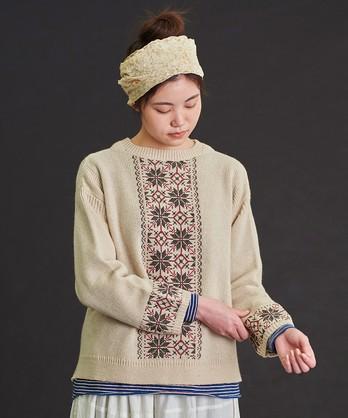 〇malle ウール/ナイロン 雪のクロスステッチセーター