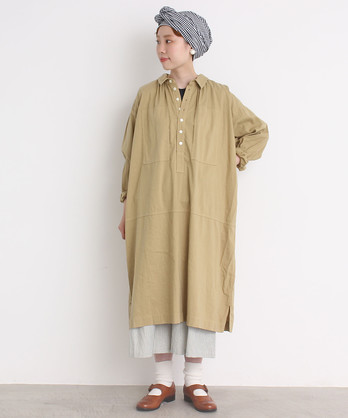 〇malle COTTON ファーマーズワークシャツドレス