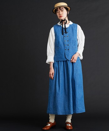 〇malle コットン/リネンシャンブレー ジャンパースカート