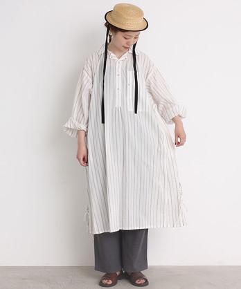 ○malle COTTONストライプ ブッチャースモック シャツドレス