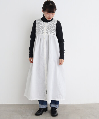 〇malle コットン/リネン レース編み ナイトドレス