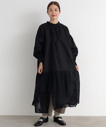 〇malle コットン/ラミー レースパッチワーク 2wayワークドレス