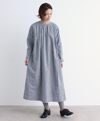 △malle インディゴギンガム ワークドレス