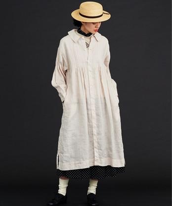 〇malle 60/-Linen スモックシャツドレス