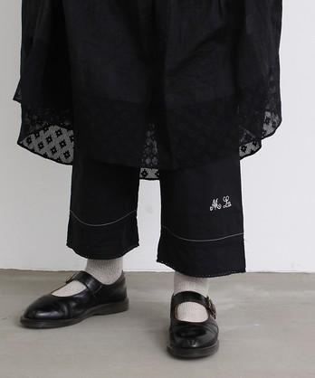 〇malle Cotton poplin モノグラム裾レースパンツ