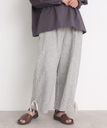 ○malle Linen先染めワッシャー 裾しぼりパンツ
