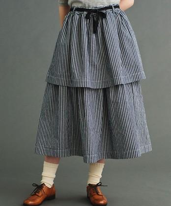 〇malle ヒッコリーストライプ  2段スカート