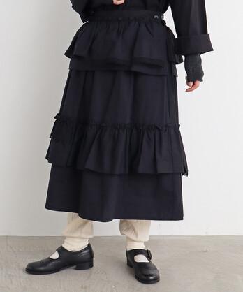 〇malle ブロード ウエストフリルスカート