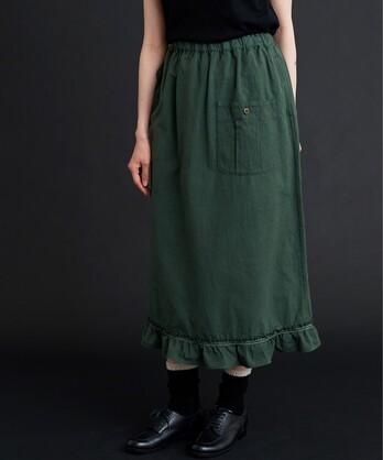 〇malle ポプリンワッシャー 裾フリルスカート