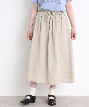 ○malle リネン/コットン ストライプスカート