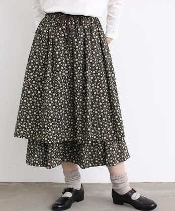 〇malle 60sサテン小花プリント 2段スカート
