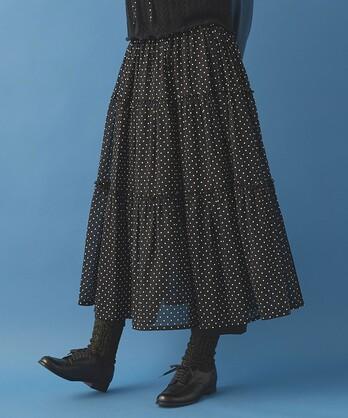 〇malle コットン/ドットプリント ティアードスカート