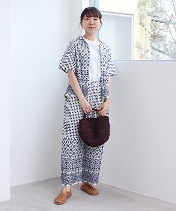 〇幾何学総刺繍 開襟ブラウス(セットアップ対応)