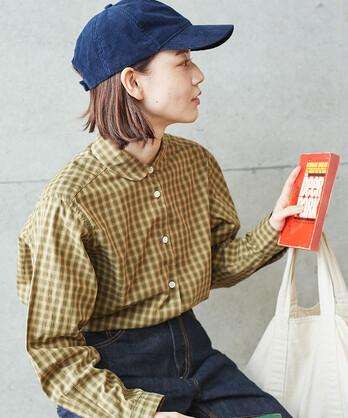 【予約販売】〇オーガニックコットンチェック 丸襟シャツ