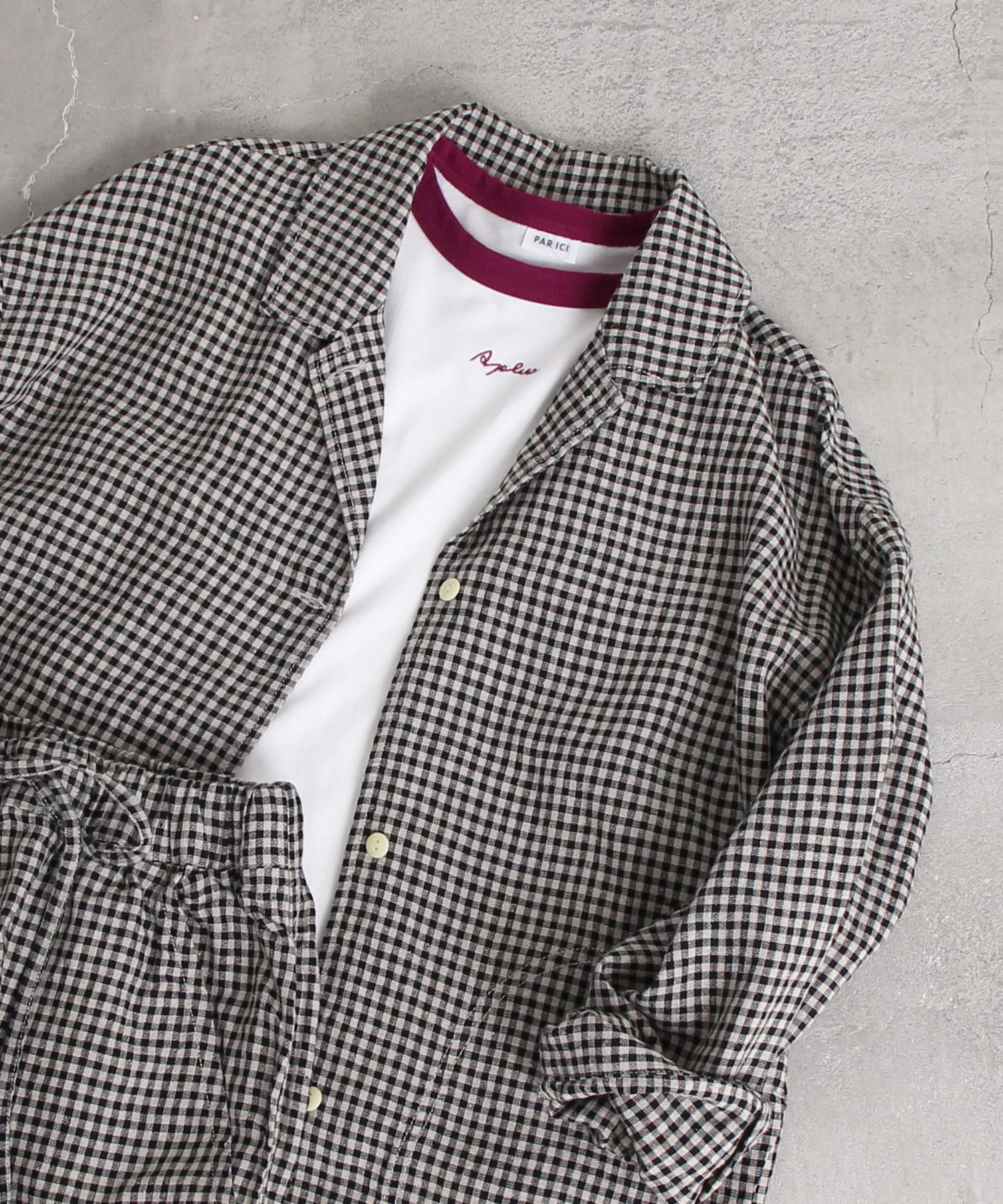 ○シルクネップギンガム シャツジャケット (セットアップ対応)