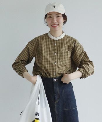 【予約販売】〇オーガニックコットンチェック クレリックスタンドシャツ