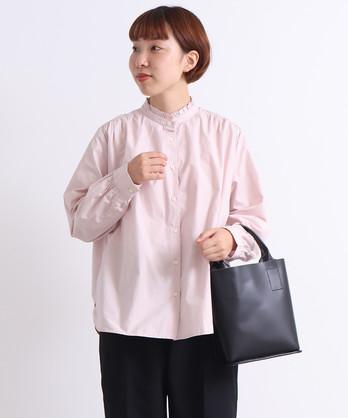 △○ストライプ/無地 スタンドフリルシャツ