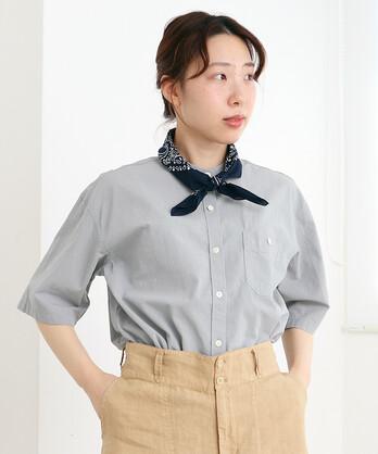 △〇ブロード5分袖 バンドカラーシャツ