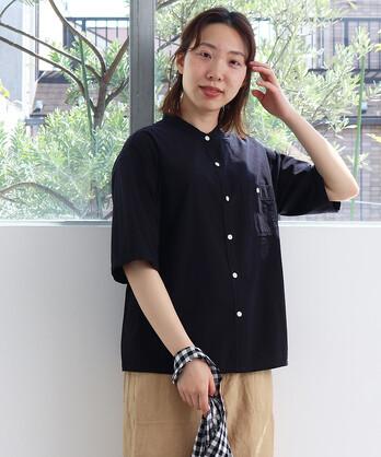 〇ブロード5分袖 バンドカラーシャツ