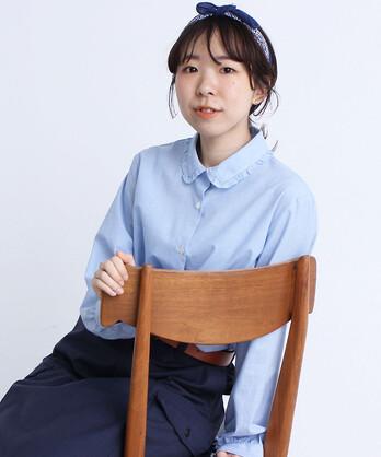 〇<WEB別注カラー>ギンガム/無地 フリル衿ブラウス
