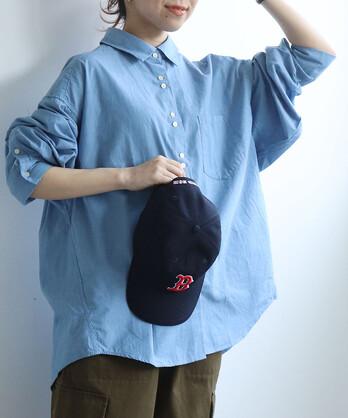 △〇VINTAGE16 無地/ギンガム/ストライプ BIGスリーブシャツ