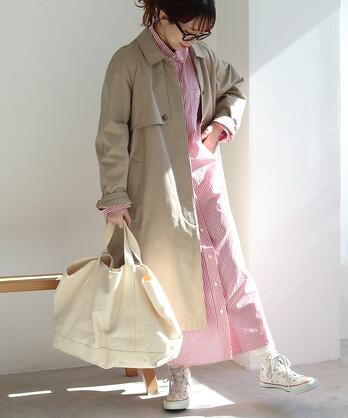 △交織ツイル ステンカラーコート