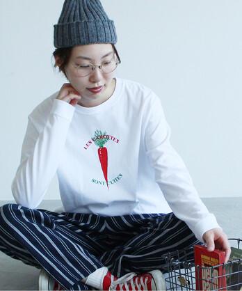〇【WEB別注カラー】冬野菜プリント ロンT