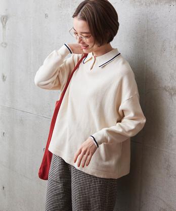○ハーフリブニット ポロシャツ