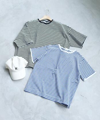 △〇ボーダー配色バインダー 半袖Tシャツ