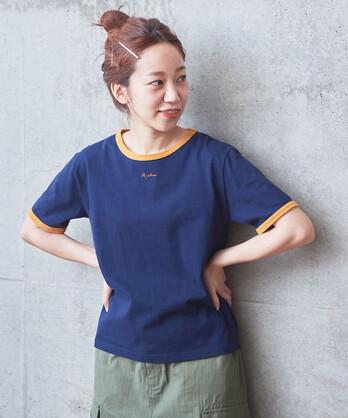 """△〇""""またね""""刺繍 リンガーTシャツ"""