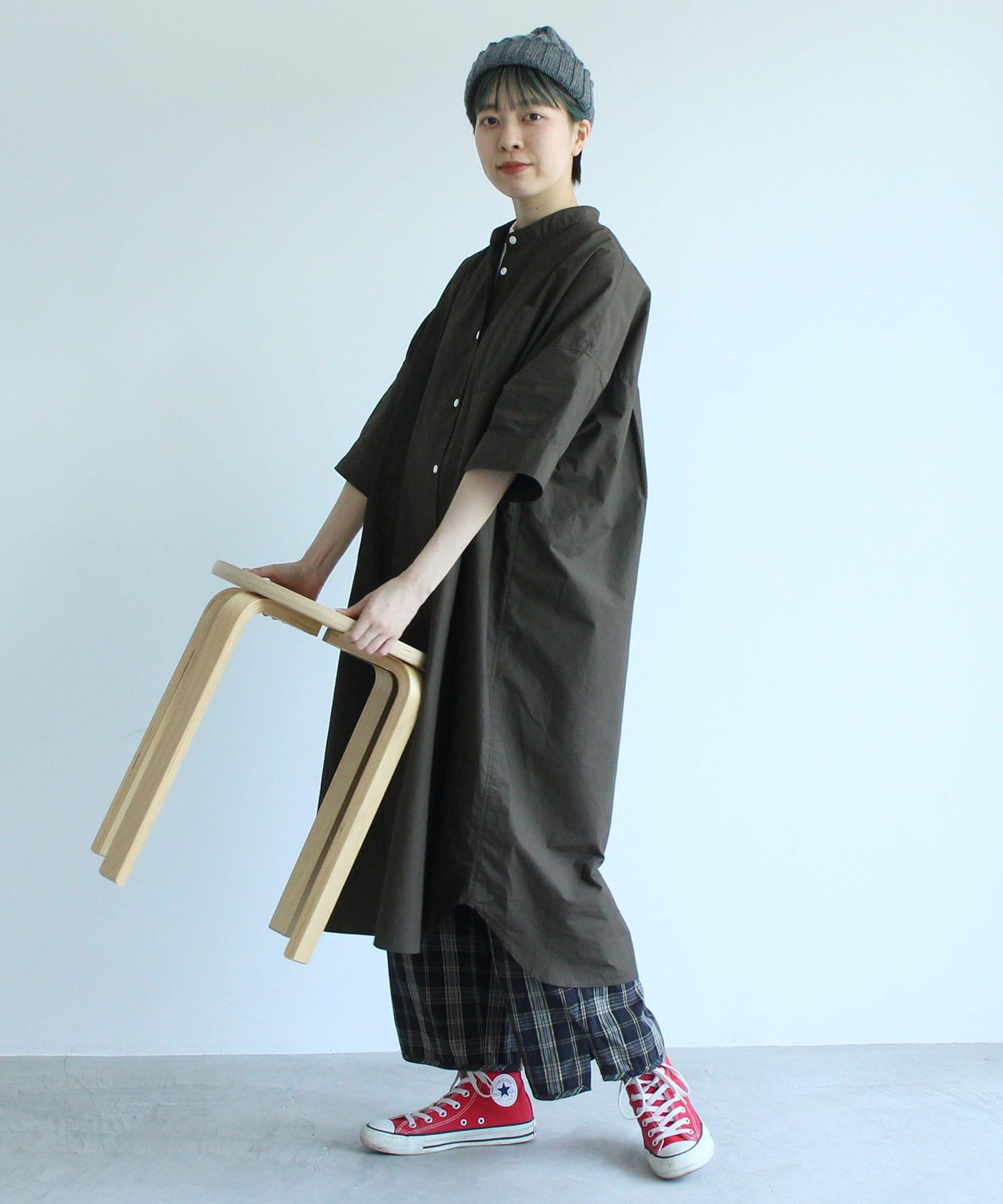 △〇無地/ストライプ BIGシャツワンピース