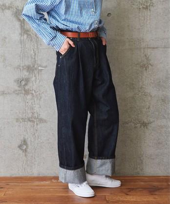【予約販売】〇△デニムカツラギ タックパンツ