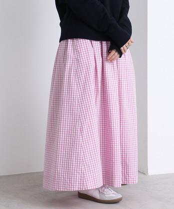 ギンガム/ストライプ ギャザーロングスカート