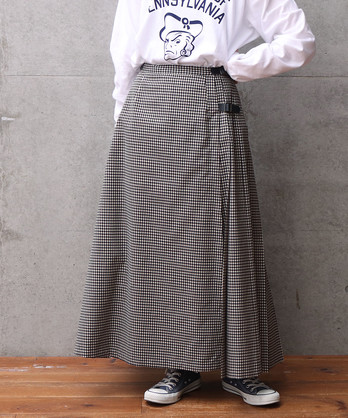 ○テトロンウールギンガム プリーツスカート