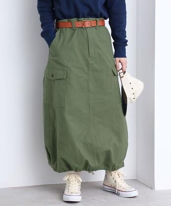 ○FINXヘリンボン アーミースカート (セットアップ対応)