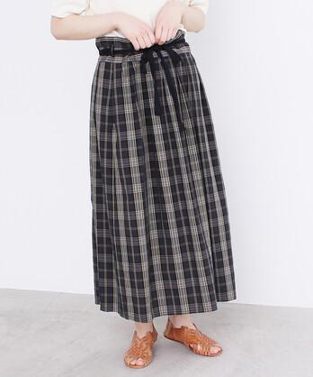 △〇コットンキュプラチェック 江戸炊き巻きスカート