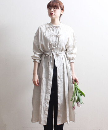 LINEN ribbon gown dress