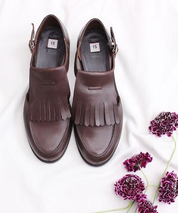 〇_Leatherkiltie tongue shoes